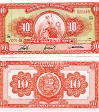 PERU South America 10 Soles De Oro UNC 1963 p-84