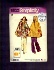 Simplicity 6630, Jiffy Reversible Poncho Sewing Pattern, One Size, Retro 1970s