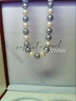 "AAA 18""11-10mm real south sea white grey Multicolor pearl necklace 14K CLASP"