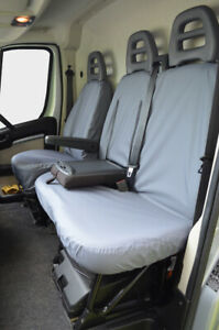 Grey Tailored Waterproof Seat Covers Front 3 Custom Fit for Citroen Relay 2006+
