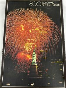 Vtg.Rare Fireworks over Statue of Liberty, NY Prestige Puzzle FX Schmid-800 pc.