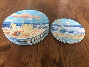 Oneida Nautical Beach 11 Pc Melamine Plates Dinner Salad