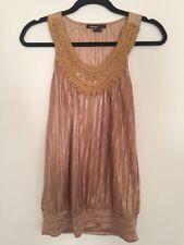 TAKARA - Sexy Evening Gold w/ Crochet Collar Camisole Top Shirt Blouse Large L
