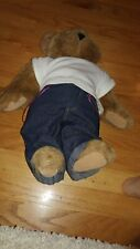 """Vermont Teddy Bear Fully Jointed Plush Tan 17"""" """"Outlaw"""" tatoo  EXC"""