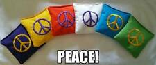 8 Peace Sign Corn filled Cornhole Toss Bean Bags+Tote NEW!!