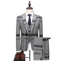 Men Gray Plaid Fashion Groom Tuxedos Formal Wedding Prom Party Suits Dinner Suit