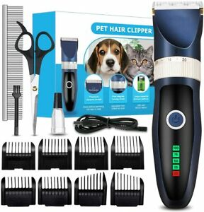 Rechargeable Cordless Dog Grooming Clippers Kit with Scissors 8 Comb Guides etc