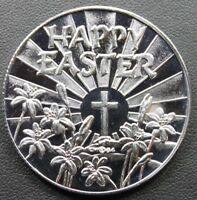 Happy Easter Cross 1oz .999 Fine Silver Round