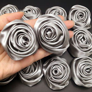 Lot 24pc Silver Grey Satin Ribbon Rose Flowers Craft DIY Wedding Bouquet 50mm 2""