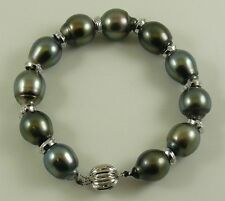 """Tahitian Black 14.5mm x 12mm  Pearl Bracelet with Dia 0.18ct 14k White Gold 8"""""""