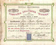 Chile 1905 Nitrate Company Compania Salitrera Riviera 50+ shares revenue stamp