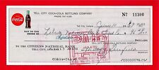 1968 Coca Cola Tell City Ind Old Bottling Check #11300