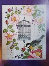 'PINK FLOWERS BIRD AND BIRDCAGE' CROSS STITCH CHART BY LESLEY TEARE (45)