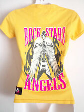 Rockstars & Angels logo  yellow T shirt guitar and wings size small usa  look
