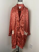 Vintage 90s Satin Floral Lace Trim Christian Dior USA Made Bathrobe Size Small