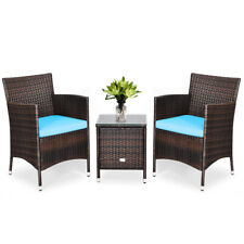 Outdoor 3 PCS Rattan Wicker Furniture Set w/2 Chairs Coffee Table Garden Blue