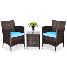 Outdoor 3 PCS Rattan Wicker Furniture Set w/2 Chairs Coffee Table Garden Blue