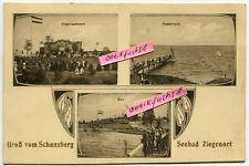 Postkarte um 1906 : Schanzberg , Seebad Ziegenort / Trzebież