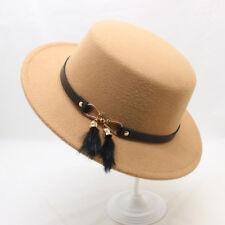 Lady Fashion Winter Wide Brim Flat Top Felt Boater Hat Women Elegant Party Cap