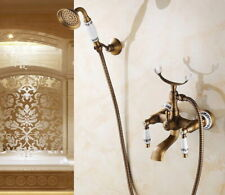 Antique Brass Wall Mount Clawfoot Bath Tub Faucet With Handheld Shower