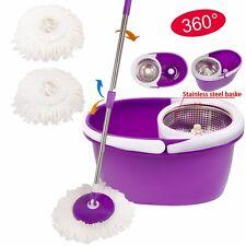 Purple 2 Heads 360° Magic Spin Mop Stainless Steel Dehydrate Basket W/Bucket New