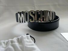 SS17 Moschino Couture Jeremy Scott BLACK LEATHER BELT WITH SILVER LETTERING LOGO