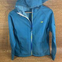 New Balance Women's Teal Hooded Full Zip Jacket, Running & Workout Size Medium M