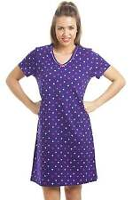 Camille Womens Ladies 100% Cotton Multi-Coloured Star Print Purple Nightdress