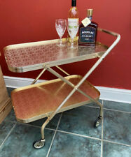 Vintage Retro Gold Texture Folding 2 Tier Cocktail Drink Serving Tea Trolley