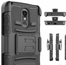 For LG STYLO 3 / STYLO 3 PLUS - Black Hybrid Holster Combo Case Cover +Belt Clip