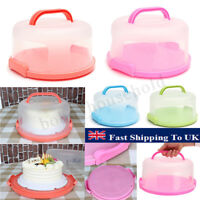 Portable Handheld Round Plastic Cake Storage Box Cupcake Carrier Container NEW