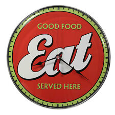 EAT AMERICAN DINER Wanduhr groß Metall Schild Uhr Drive In Bar Pup Cafe Kneipe