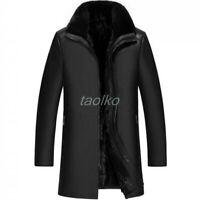 Mens Long Business Real Leather Mink Fur Coat Trench Parka Warm Winter Jacket sz
