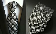 Tie Grey and Black Patterned Handmade 100% Silk Mens Wedding Formal Necktie
