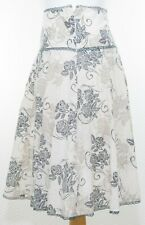 Red Herring Pure Cotton Floral Skirt Size 8 UK Flared Off White