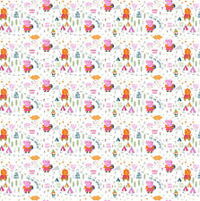 Peppa Pig Happy Forest White 100% Cotton Fabric by the Yard