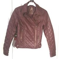 BURGUNDY Faux Leather PU Quilted BIKER JACKET S uk6us2eu32 Chest c32ins c81cm