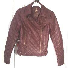 BURGUNDY Faux Leather PU Quilted BIKER JACKET S uk6us2eu32 Chest c32ins c81cm