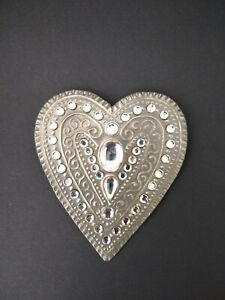 Vintage 90s Pewter Brooch Gill Clement Designer Jewellery Handmade Crystal