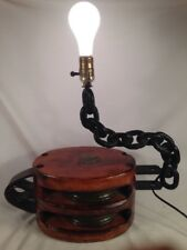 Antique Table Lamp Nautical Marine Wood Ship Block & Tackle Vtg Pulley Large