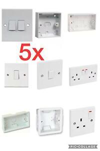 5x single,double,1,2 gang 1,2 way,switch,sockets,pattress,back box,dry lining