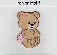 BABY BEAR IN PINK IRON ON APPLIQUE MOTIF PATCH, BRAND NEW