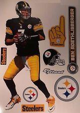 "Ben Roethlisberger FATHEAD + Steelers Logo Set NFL Vinyl Wall Graphics 17"" INCH"