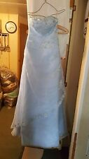 VINTAGE ?WEDDING /BRIDESMAID DRESS PALE BLUE CHIFFONY STRAPLESS SEQUINS EMBROID