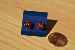 3.03ct Spessartite Mandarin Garnet Solitaire Earrings Fine Silver 7x6mm