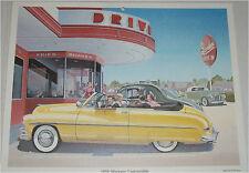 1950 Mercury Convertible car print (yellow, no top)