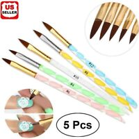 Pro 5Pcs New Acrylic 3D Painting Drawing UV Gel DIY Brush Pen Tool Nail Art Set