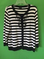 6533) TALBOTS x-largE XL black stripe beads cardigan sweater button front cotton