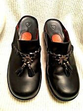 ARIAT Women's BLACK Leather CLOGS MULES SLIDES with TASSELS  Style#94105 8B  EUC