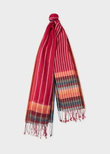 NWT Paul Smith Red Cotton Stripe Scarf With 'Artist Stripe' Ends. Yours for?